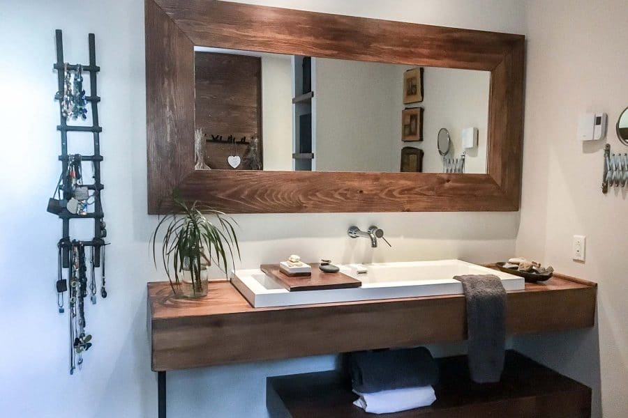 Bleu Bois Miroir de salle de bain